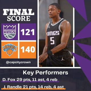 Make that 9 straight losses for your @sacramentokings   #sacramento #kings #sacramentoproud #sacramentokings #sactown #nba #basketball #sports #sportsblog #blogger #blog #nbabasketball #newyork #newyorkcity #newyorkknicks #knicks #ny #nyc #gameday #madisonsquaregarden #buddyhield #marvinbagley #deaaronfox #news