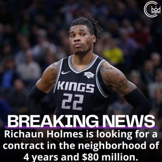 @rich_holmes22 is looking for a contract in the 4-year and $80 million range. He's coming off a season where he averaged:  14.2 PTS 8.3 REB 1.6 BLK 63.7% FG (2nd in the NBA)  Holmes has fit in great with Sacramento since he's got here and has expressed his desire to stay in California's capital. So tell me Kings fans, is Holmes worth $20M a year over the next four years and would you like him to stay in Sacramento on that price tag?  #sacramento #kings #sacramentoproud #sacramentokings #sactown #nba #basketball #sports #sportsblog #blogger #blog #nbabasketball #news #richaunholmes