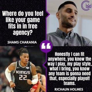 Do you think Richaun Holmes resigns with Sac this offseason?  #sacramento #kings #sacramentoproud #sacramentokings #sactown #nba #basketball #sports #sportsblog #blogger #blog #nbabasketball #news #richaunholmes #shamscharania