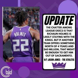 Holmes is already looking for a deal near 4 years and $80M. If the Kings won't offer more than 4 years and $60M then it almost seems like he won't be in Sac next season. It'll be exciting to see what happens today as free agency begins at 3 p.m. PT.  #sacramento #kings #sacramentoproud #sacramentokings #sactown #nba #basketball #sports #sportsblog #blogger #blog #nbabasketball #news