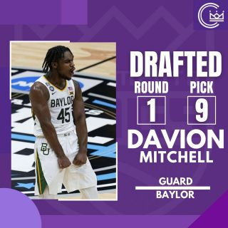 With the 9th pick the Kings choose Davion Mitchell out of Baylor  #news