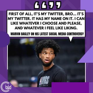 """Marvin Bagley just keeps digging himself deeper in the hole with his latest comments regarding his social media controversy. One league source recently referred to Bagley as """"unappreciative"""" of the opportunities the Kings have given him despite the injury setbacks and his struggle to grasp team concepts at both ends of the floor.  How are Kings fans feeling about Bagley?  #sacramento #kings #sacramentoproud #sacramentokings #sactown #nba #basketball #sports #sportsblog #blogger #blog #nbabasketball #marvinbagley #news"""