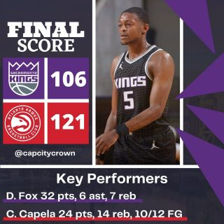 The @sacramentokings lose to the @atlhawks  #sacramento #kings #sacramentoproud #sacramentokings #sactown #nba #basketball #sports #sportsblog #blogger #blog #nbabasketball #atlanta #hawks #atlantahawks #nbagames #nbagame #news